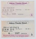 Bilette des Häbse-Theaters Basel von 1992 + 1998