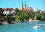 Ansichtskarte BASEL Rheinpartie mit Münster (Ansichtskarten-Verlag Hans Frey, Basel)