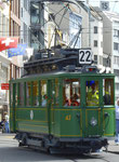 Hundert Jahre Tram nach St.Jakob. Motorwagen Be 2/2 Nr.47 auf der Linie 22 die Haltestelle Barfüsserplatz verlassend, 2016