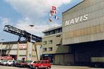 Die Reederei Natural van Dam und Navis an der Dreiländerecke im Hafenbecken 1 im Jahre 1979