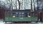 Nochmals der Trammotorwagen Be 2/2 Nr. 161 in einer Seitenansicht in der Abstellanlage Eglisee im Winter 1972
