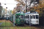 Trammotorwagen der Serie Be 4/4 zur Verschrottung bereit gestellt,  Abstellanlage Eglisee, Herbst 2000