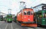 Betriebstag 50 Jahre Tramclub Basel: Der Schneepflug Be 2/2 Nr.2022 beim Depot-Vorplatz-Areal, Juni 2018