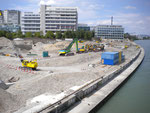 Hier stand über 100 Jahre lang der Hafen St.Johann, der erste Rheinhafen Basels, Juli 2011