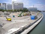 Hier stand über 100 Jahre lang der Hafen St.Johann, der erste Rheinhafen Basels, Juli 2011 (an diesem Platz wäre eigentlich ein Krandenkmal angebracht gewesen!!)