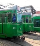 Die Trammotorwagen Be 4/4 Nr.473 und Nr.469 vor dem Depot Dreispitz, September 2016
