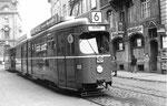 Trammotorwagen DÜWAG Be 4/6 Nr. 612 auf der Stammlinie 6 an der Schifflände, 1969 (DÜWAG = DÜsseldorf WAGgon)