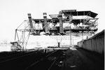 Die Kohlenverteilungs-Anlage der Rheinischen Kohlenumschlags AG im Klybeck-Hafen,1985