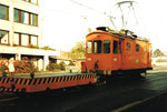 Der Dienstmotorwagen Be 2/2 Nr.2038 während der Fahrt in der Margrethenstrasse, 1982