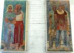 Zwei Wandbild-Fragmente von der ehem. Börse am Fischmarkt von A.H.Pellegini, nun in der Einfahrt zum Spiegelhof «Ernte-Arbeiterinnen» und «Bergleute»