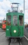 Betriebstag 50 Jahre Tramclub Basel: Frontansicht des Trammotorwagen Be 2/2 Nr.156 vor dem Depot-Dreispitz, Juni 2018