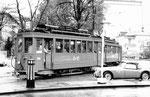 Trammotorwagen Be 2/2 Nr.209 auf der Linie 22, den Aschenplatz anfahrend, 1969