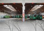 Blick ins Depot Dreispitz, rechts zwei DÜWAG Trammotorwagen und links einige Oldtimer-Fahrzeuge, Oktober 2015