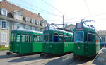 Die Trammotorwagen Be 4/4 Nr.473 und Nr.469 und der Anhängewagen B4 Nr.1455 bereit zum verschrotten auf dem Areal des Depots Dreispitz, September 2016.