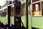 Zwei Trammotorwagen Be 2/2 Nr.156 und Nr.159 in der Abstellanlage in Kleinhüningen, 1972