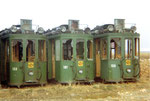 Drei Trammotorwagen Be 2/2 Nr.153, 155, 161 warten auf die Verschrottung, 1972