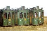 Drei Trammotorwagen Be 2/2 Nr. 153, 155, 161 warten auf die Verschrottung, 1972