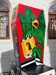 Die originelle Laterne der «Höibärgler« an der Laternenausstellung auf dem Münsterplatz 2019