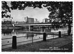 Ansichtskarte 6669 Basel. Dreirosenbrücke und Rheinhafen St.Johann (Rud.Suter Oberrieden ZCH)