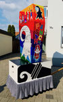 Nach der Fertigstellung der Basler Fasnachtslaterne durch den Laternenmaler Paul Bachmann: Die Rückseite der Basler Fasnachtslaterne, März  2019