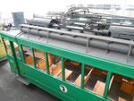 Ansicht auf das Dach des Trammotorwagens Be 2/2 Nr.202, 2015 (siehe zum Vergleich dazu vorangehende Fotos Nr.185 und 186)