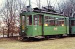 Trammotorwagen Be 2/2 Nr.154 in der Abstellanlage Eglisee, 1972