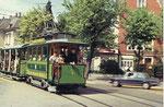 Der Museums-Tramzug der BVB mit Sommerwagen, die Haltestelle Wettsteinplatz anfahrend, 1970
