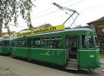 Linie 15 mit Trammotorwagen Be 4/4 Nr.463 an der Endhaltestelle Bruderholz, 2015
