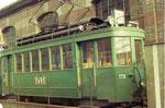 Der Trammotorwagen Be 2/2 Nr.175 auf dem täglich benutzten Abstellgeleise in der Gärtnerstrasse neben dem Depot Wiesenplatz, 1972