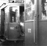 Die Trammotorwagen Be 2/2 Nr. 152 und Nr. 177 in der Abstellanlage Eglisee Oktober, 1971