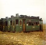 Verschiedene Trammotorwagen der Serie Be 2/2 bereit zur Verschrottung, 1972