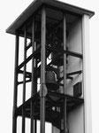 Der Glockenstuhl der Johanneskirche mit total 5 Glocken, 1970