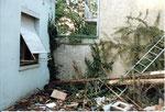 Die einstige Hinterhof-Idylle während des Abbruches der Häuser Bläsiring 129, 1991