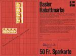 Die bekannte und beliebte Sparkarte der Basler Rabattmarke LIGA 1970, Vorderseite