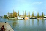 Einfahrt zu den Hafenbecken 1 + 2, im Hintergrund links der Hafen Weil am Rhein im Jahre 1975 - ein Foto, vor dem Bau des Rheincenters