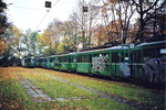 Verschiedene Trammotorwagen der Serie Be 4/4 auf dem Abstellgeleise Eglisee warten auf die Verschrottung, 2000