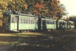 Verschiedene Trammotorwagen der Serie Be 2/2 in der grossen Abstellanlage Eglisee, 1972