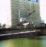Der Kran Nr.3 der SRN (vorm.NEPTUN) im Hafenbecken 2, 1980 (Kranführer war teilweise auch der FCB-Torhüter Paul Wechlin)