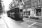 Der Tramzug Be 4/4 Nr. 470 auf der Linie 15 in der Elsässerstrasse im Jahre 1969