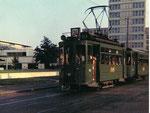 Der Tramzug Be 2/2 Nr. 151 auf der beliebten Linie 24 an einem warmen Sommerabend in der Gärtnerstrasse, Juli 1969
