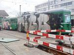 Die von Vandalen total versprayten Anhängewagen B4 Nr.1477 und Nr.1484 vor dem Depot Dreispitz. Januar 2018