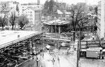 Die Heuwaage während des fortgeschrittenen Viaduktbaus um 1962