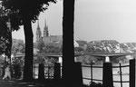 Das St.Alban-Tal mit Blick gegen die Wettsteinbrücke und dem Münster im Hintergrund, 1970