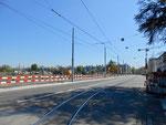 Bauarbeiten an der Burgfelderstrasse zur Verlängerung der Linie 3 nach St.Louis, April 2017
