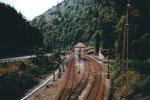 Die Bahnanlagen des Bahnhofs Hirschsprung an der Höllentalbahn 1982
