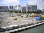 Aushubarbeiten am ehemaligen Hafen St.Johann, Juli 2011