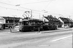 Ein Tramzug Be 4/4 Nr. 411 auf der Linie 3 an der Haltestelle Breite, 1969