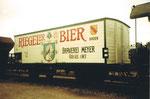 Ein schöner Bierwagen der Brauerei Meyer «Riegeler-Bier», 1975
