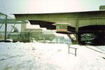 Das Hafenbecken 1 mit viel Schnee und grosser Kälte an einem Januar-Sonntagmorgen im Jahre 1986