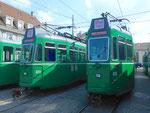 Frontansicht der Trammotorwagen Be 4/4 Nr.473 und Nr.469 vor dem Depot Dreispitz, September 2016